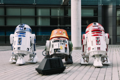 R4-P17, R2-D2, Chopper and Mouse Droid