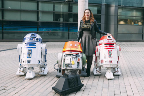Berta (eCartelera) with: R4-P17, R2-D2, Chopper and Mouse Droid